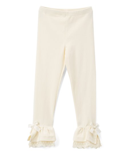 aad5c0b2e1e love this product Ivory Lace-Cuff Leggings - Girls