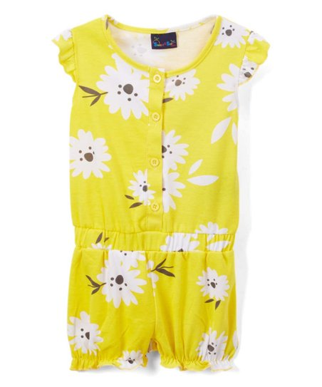 44e153997e5 love this product Yellow Floral Flutter-Sleeve Romper - Toddler