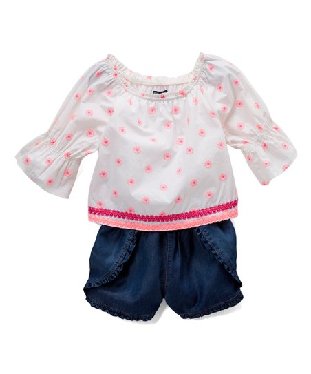 02f63d0897c love this product Pink   Denim Polka Dot Layered Romper - Toddler