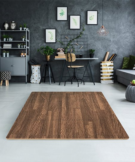 Dark Wood Grain 12 Interlocking Foam Tile Set
