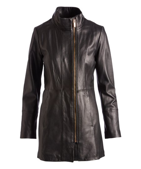 Cole Haan Black Funnel Collar Leather Jacket Women Zulily