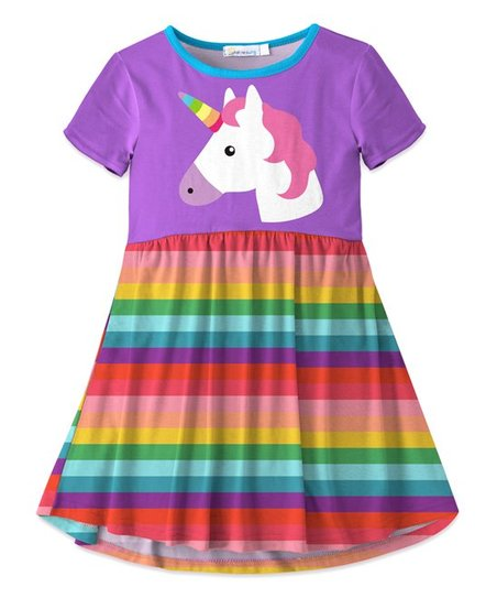 c11652bd4146 love this product Purple Unicorn   Red Stripe Swing Dress - Toddler   Girls
