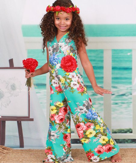 f4cc633c9d9 love this product Turquoise   Red Floral Ruffle-Sleeve Jumpsuit - Toddler    Girls