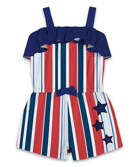 da268a3e1228 Sunshine Swing Navy   Red Stripe   Star Ruffle Romper - Toddler ...