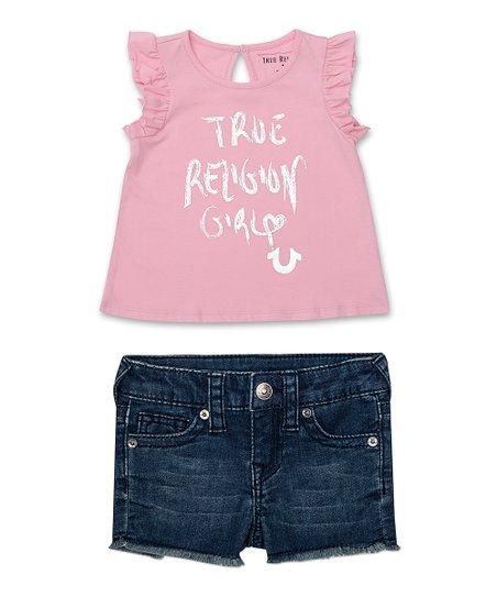 5894a7b1d3a1 Pink  True Religion Girl  Flutter-Sleeve Tee   Shorts - Infant