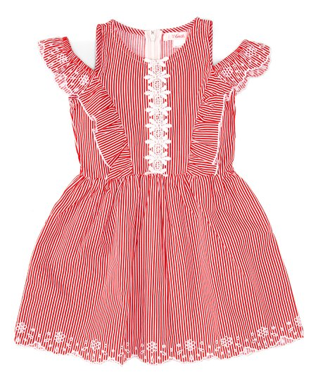62d99e541288d love this product Red Stripe Scallop-Trim Cold-Shoulder Dress - Toddler    Girls