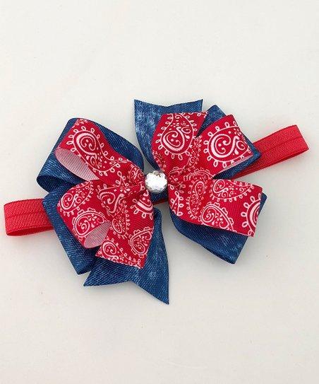 Fairy Bow Mother Blue and Red Paisley Rhinestone Bow Headband  bf2441021e9