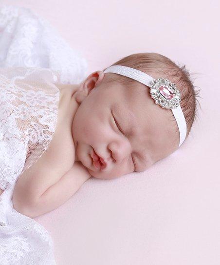 Lil Miss Sweet Pea White Lace Wrap & Rhinestone Headband