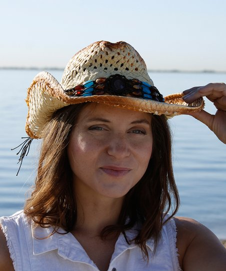 11297e923b278b Gianna Hat Natural & Blue Embellished Cowboy Hat | Zulily