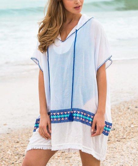 e87e144588 Cabana Life Blue & White Embroidered Cover-Up - Women   Zulily