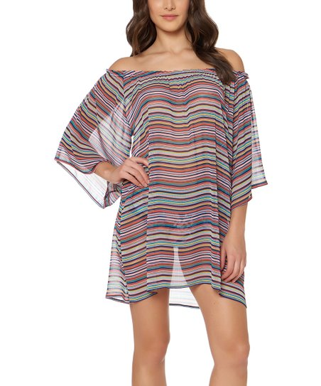 ELLEN TRACY Womens Off The Shoulder Swim Cover-up
