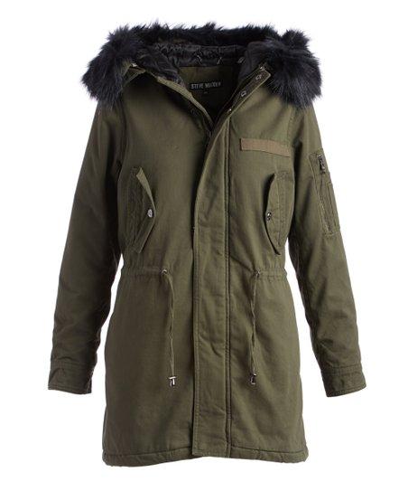 47643444e98d Steve Madden Olive & Black Faux Fur-Trim Hooded Anorak - Women | Zulily