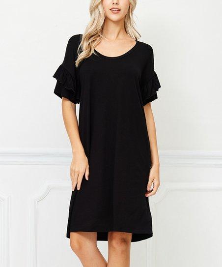 Bellino Black Ruffle Sleeve Shift Dress Women Zulily