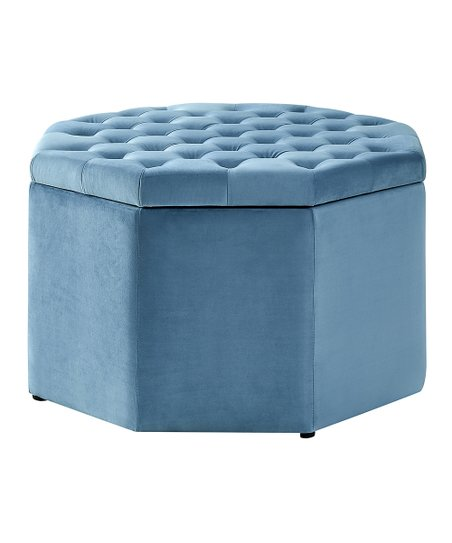 Fine Inspired Home Light Blue Romeo Velvet Tufted Storage Ottoman Gmtry Best Dining Table And Chair Ideas Images Gmtryco