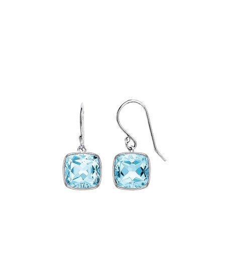 Diane Lo Ren Blue Topaz Sterling Silver Cushion Cut Drop Earrings