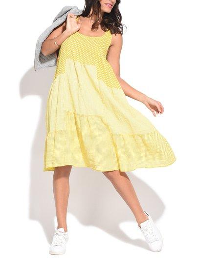 Couleur Lin Green Patchwork Tiered Linen Strapless Dress - Women & Plus