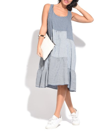 Charmant Blue Patchwork Tiered Linen Strapless Dress   Women
