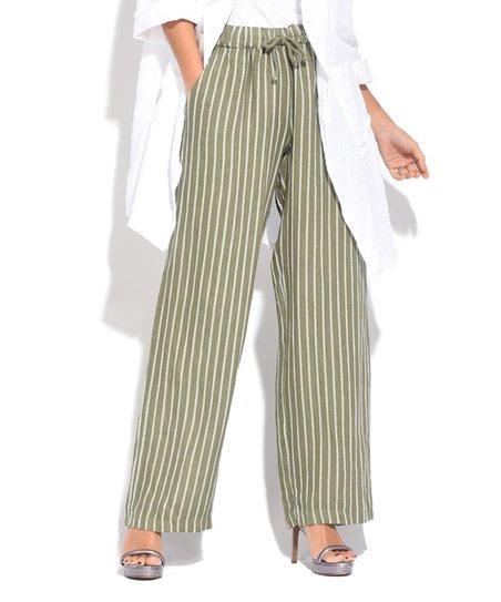 912d66effccb Couleur Lin Green Stripe Drawstring Linen Wide-Leg Pants - Plus | Zulily