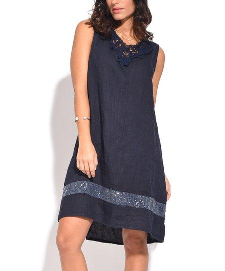 Couleur Lin Blue Lace-Yoke Linen Strapless Dress - Women