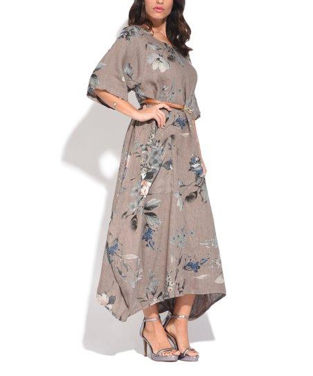 Couleur Lin Brown Floral Linen Maxi Dress - Women & Plus | zulily