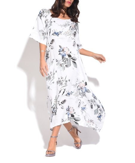 Love This Product White Floral Linen Maxi Dress   Plus