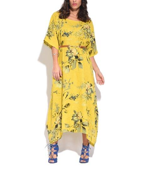 Couleur Lin Yellow Floral Linen Maxi Dress