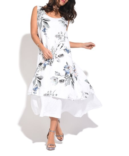 Love This Product White Floral Layered Linen Strapless Dress   Women