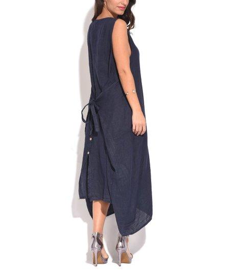Couleur Lin Blue Tie-Back Linen Strapless Dress - Women & Plus | zulily