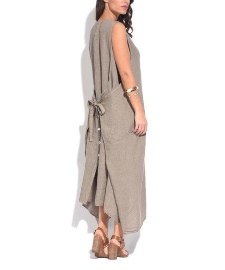 Couleur Lin Beige Tie-Back Linen Strapless Dress - Women & Plus | zulily