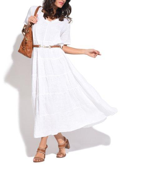 Couleur Lin White Tiered-Skirt Linen Maxi Dress - Women & Plus | zulily