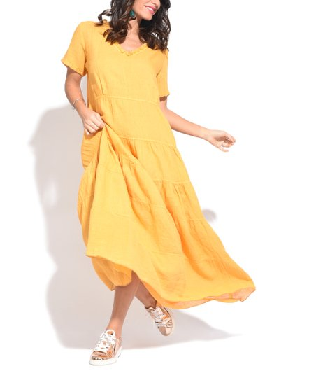 Couleur Lin Yellow Tiered-Skirt Linen Maxi Dress - Plus | zulily