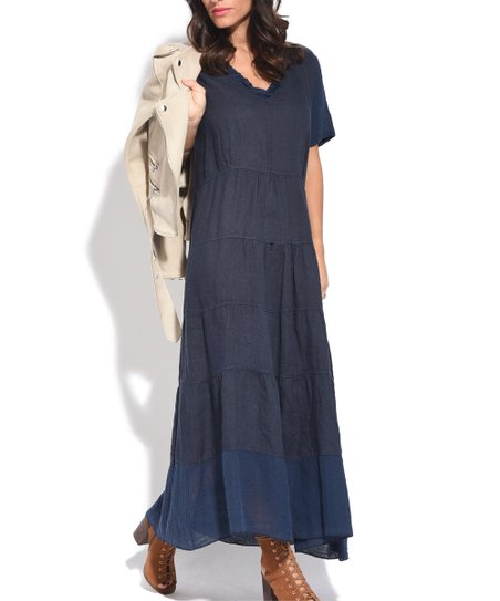 Genial Blue Tiered Skirt Linen Maxi Dress