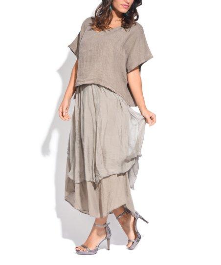 Couleur Lin Brown Layered Linen Maxi Dress - Women & Plus | zulily