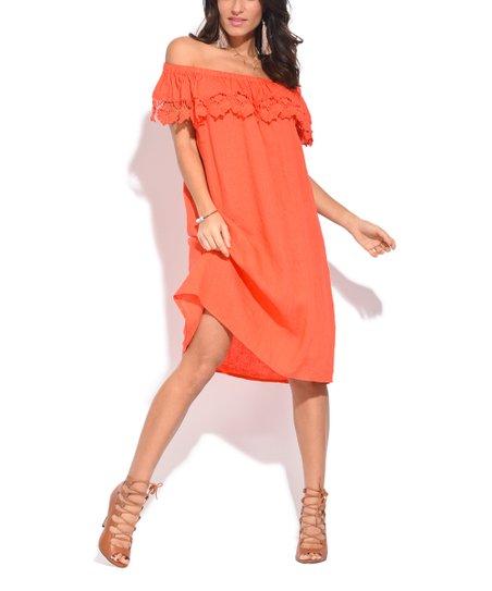 love this product Orange Lace-Trim Linen Off-Shoulder Dress - Women 2c9ce527a