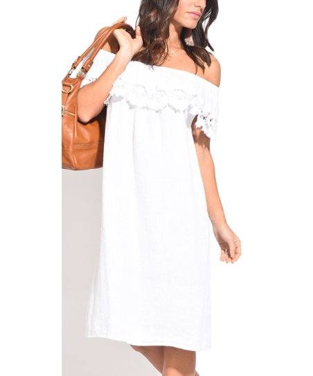 Couleur Lin White Lace-Trim Linen Off-Shoulder Dress - Women | Zulily