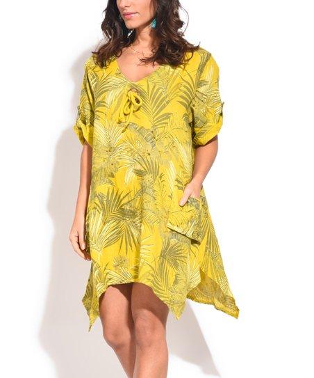 Couleur Lin Green Palm Leaf Side-Pocket Linen V-Neck Dress - Women & Plus