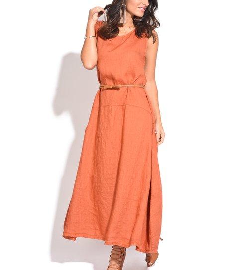 Couleur Lin Orange Sleeveless Linen Maxi Dress - Women   Zulily
