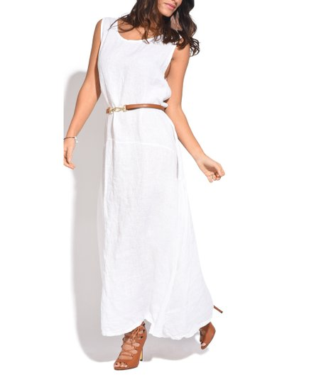 Couleur Lin White Sleeveless Linen Maxi Dress | Zulily