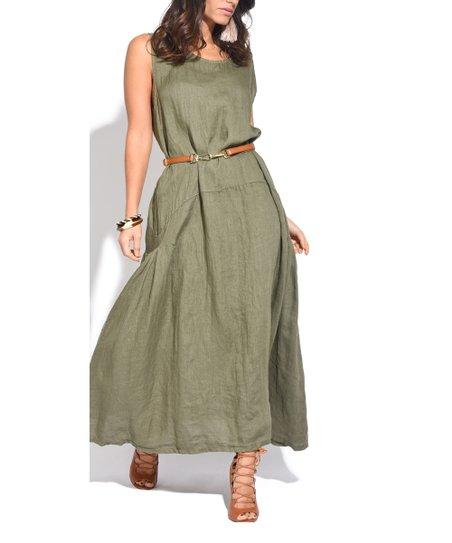 Couleur Lin Green Sleeveless Linen Maxi Dress - Plus   Zulily