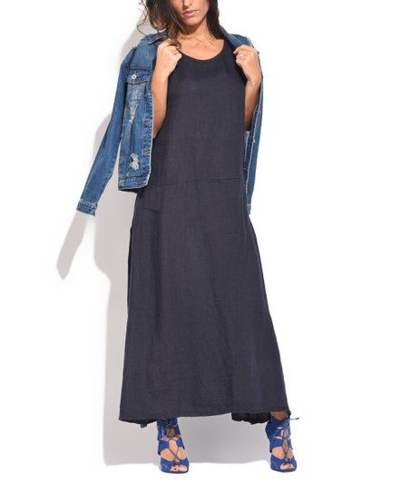 Blue Sleeveless Linen Maxi Dress   Women