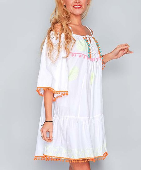 72b3524e720 love this product White Pom-Pom Strappy Off-Shoulder Dress - Women