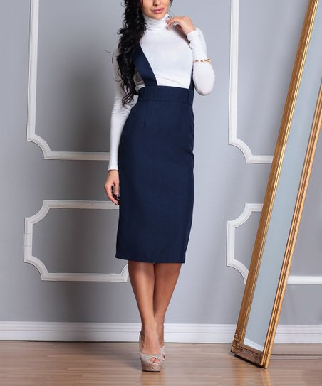 ee721bf86cc love this product Navy Linen-Blend Strap-Top Pencil Skirt - Women