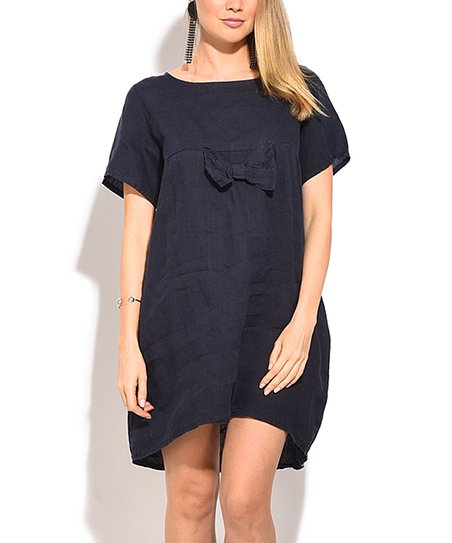a06078c307a love this product Navy Blue Bow Linen Shift Dress - Plus