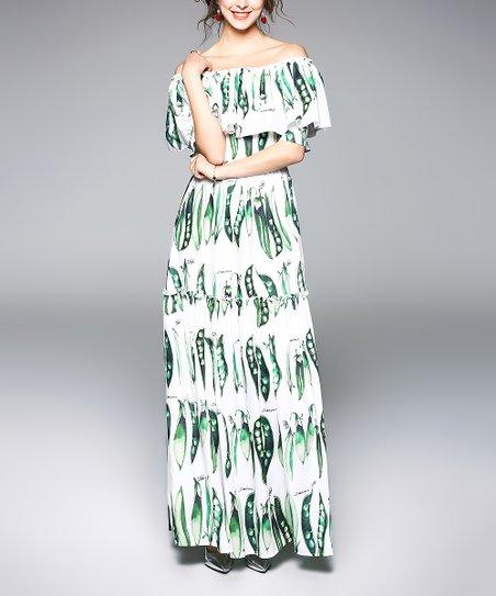 Green White Pea Pod Off Shoulder Maxi Dress Women