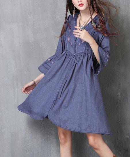 9c764c15a0 LAKLOOK Denim Blue Embroidered Peasant Dress - Women