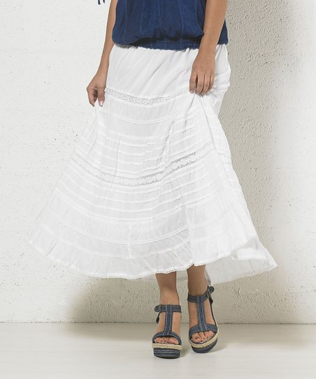 40ee06d0b love this product White Tiered Midi Skirt - Women