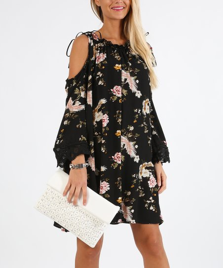 f274c046ebbbd LAKLOOK Black Floral Cold-Shoulder Dress - Women