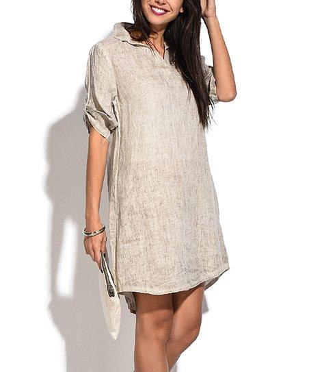 9b561d2f929d Bohabille Paris Beige Linen V-Neck Dress - Women   Zulily
