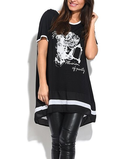 8427283b815 love this product Black & White 'Illusion of Party' Short-Sleeve Tunic -  Plus Too