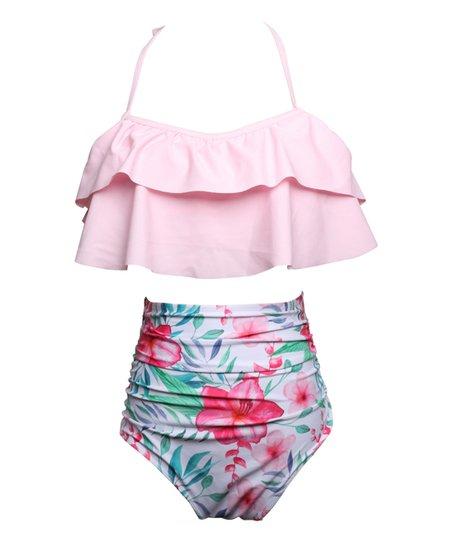 202ffeed946 love this product Pink & Blue Floral Halter Bikini Top & High-Waist Bikini  Bottoms - Women